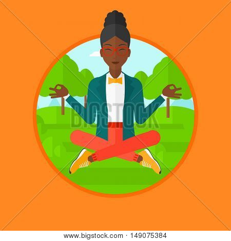 An african-american woman meditating in yoga lotus position outdoor. Business woman relaxing in the park in the lotus position. Vector flat design illustration in the circle isolated on background.