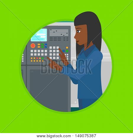 An african woman working on control panel. Woman pressing button on control panel. Engineer standing in front of control panel. Vector flat design illustration in the circle isolated on background.