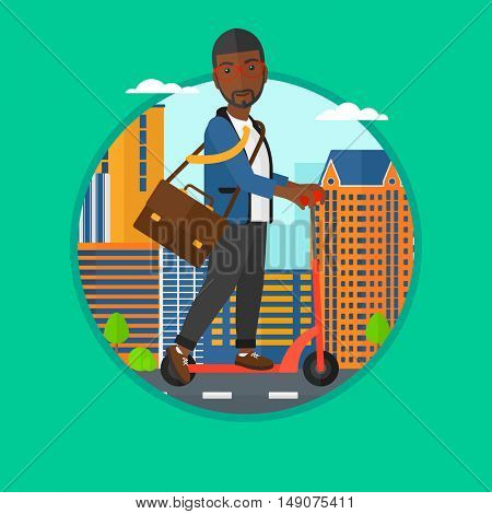 An african man riding a kick scooter. Businessman with briefcase riding to work on scooter. Man on kick scooter in the city street. Vector flat design illustration in the circle isolated on background