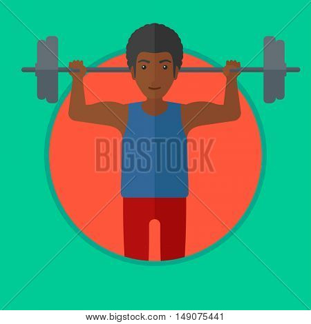 African-american man lifting a heavy weight barbell. Strong sportsman doing exercise with barbell. Weightlifter holding a barbell. Vector flat design illustration in the circle isolated on background.