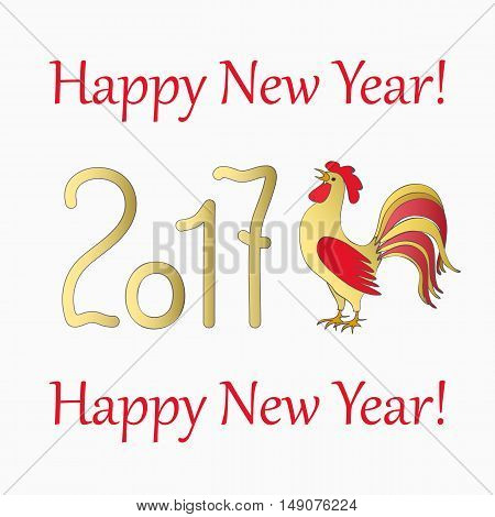New year`s banner with symbol of the year 2017 red rooster and text Happy New Year 2017 isolated on white. Design for cover calendar new year 2017. eps 10.