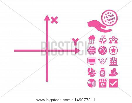 Cartesian Axes icon with bonus elements. Vector illustration style is flat iconic symbols pink color white background.