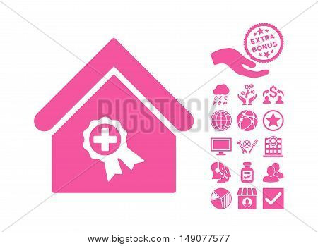 Certified Clinic Building pictograph with bonus pictograph collection. Vector illustration style is flat iconic symbols pink color white background.