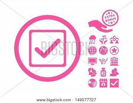 Checkbox icon with bonus design elements. Vector illustration style is flat iconic symbols pink color white background.