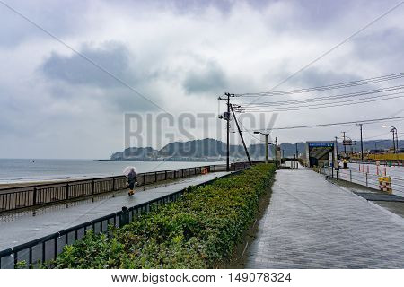 Kamakura Japan - January 29 2016:Coastline of Kamakura