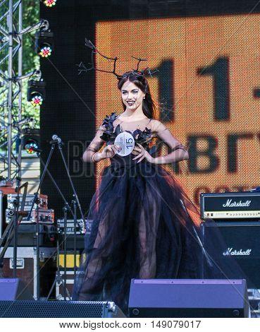 St. Petersburg, Russia - 12 August, Model, display designer dress,12 August, 2016. Beauty contest