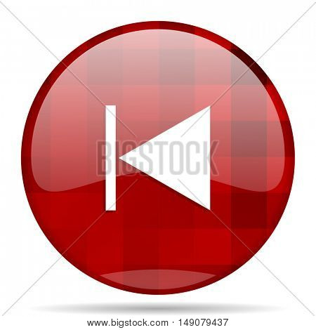 prev red round glossy modern design web icon