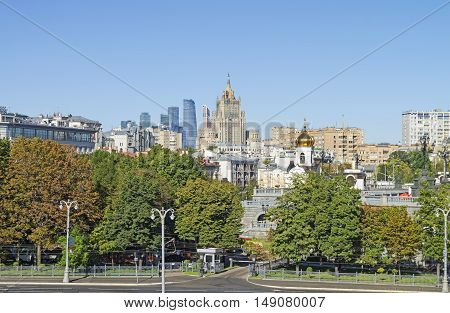 Moscow view from the Patriarshy Bridge in the direction of Moscow International Business Center. Sunny August morning.