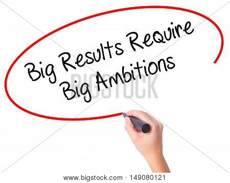 Women Hand Writing Big Results Require Big Ambitions With Black Marker On Visual Screen