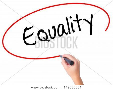 Women Hand Writing Equality  With Black Marker On Visual Screen