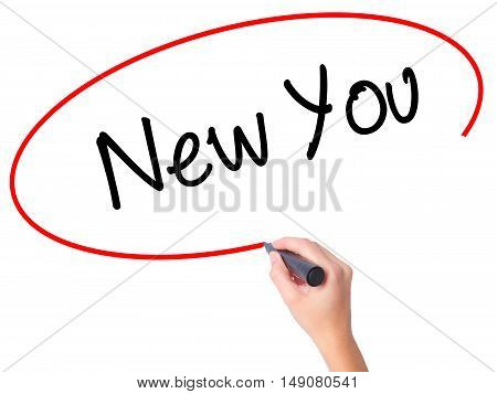 Women Hand Writing New You With Black Marker On Visual Screen