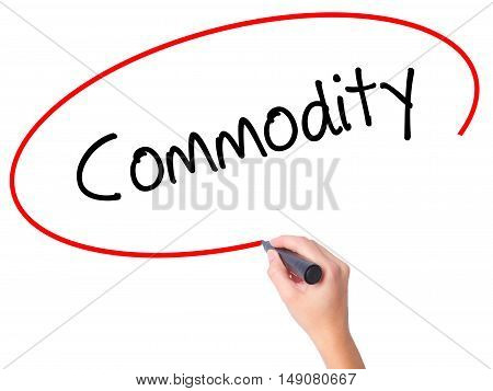Women Hand Writing Commodity With Black Marker On Visual Screen