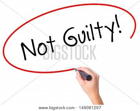 Women Hand Writing Not Guilty With Black Marker On Visual Screen