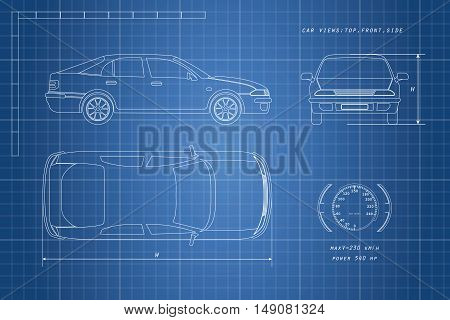 The design of the car drawing on a blue background. Three types: top side front. Vector illustration