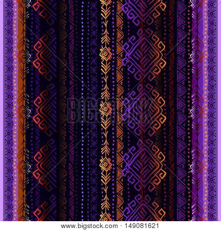 Dark vertical seamless pattern with tribal ornament ethnic stripes in black background. Geometric colorful design. Vector illustration stock vector.