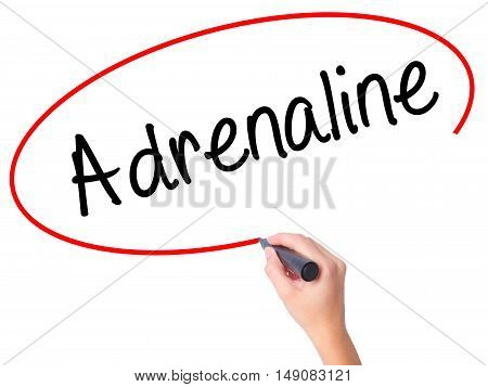 Women Hand Writing Adrenaline  With Black Marker On Visual Screen