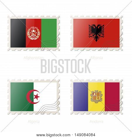 Postage Stamp With The Image Of Afghanistan, Albania, Algeria, Andorra Flag.