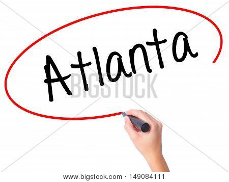 Women Hand Writing Atlanta With Black Marker On Visual Screen