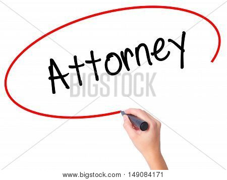 Women Hand Writing Attorney  With Black Marker On Visual Screen