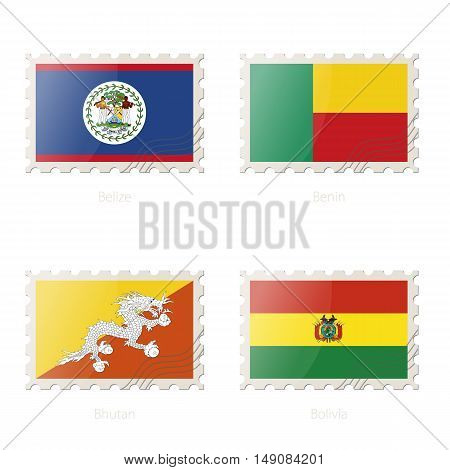Postage Stamp With The Image Of Belize, Benin, Bhutan, Bolivia Flag.