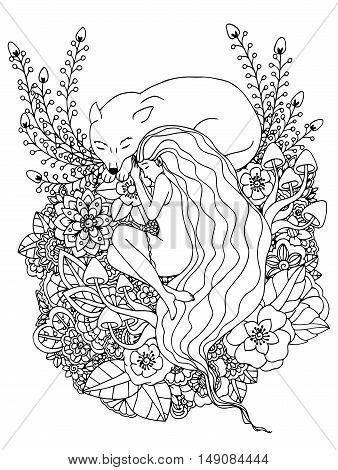 Vector illustration e girl and the wolf sleeping in the flowers. Doodle drawing. Meditative exercises. Coloring book anti stress for adults. Black and white.