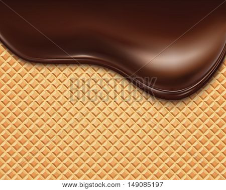 Wafer and flowing chocolate.  vector illustration .