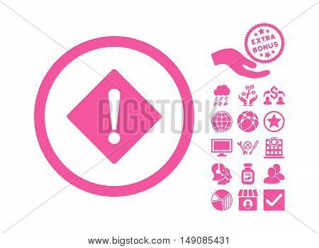 Error icon with bonus images. Vector illustration style is flat iconic symbols pink color white background.