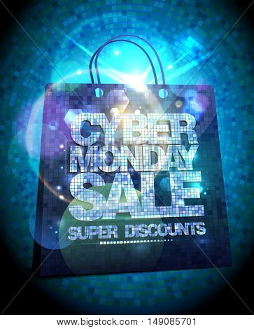 Syber monday sale design with silver crystals shopping bag, glare clearance poster illustration concept