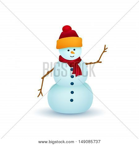 Christmas Snowman Isolated on White Background, White Snowman in a Hat and Scarf, Christmas Decorations ,Merry Christmas and Happy New Year, Vector Illustration