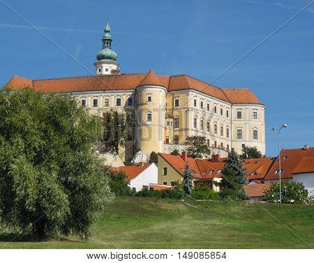 Wine Region Mikulov, South Moravia, with City Castle on the Blue Sky Background