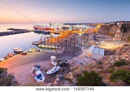 ATHENS, GREECE - SEPTEMBER 19, 2016: Ferries in passenger port of Rafina on September 19, 2016.