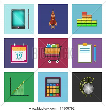 Set of Colorful Business Icons, Phone and Office Items, Icon of Business Success, Graph Growth ,Shopping Basket , Vector Illustration