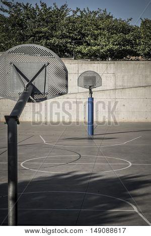 Basketball field in a public park in Spain Europe