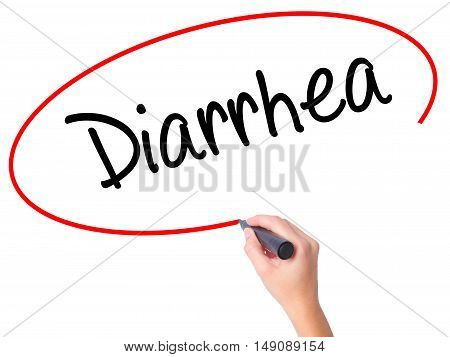 Women Hand Writing  Diarrhea  With Black Marker On Visual Screen