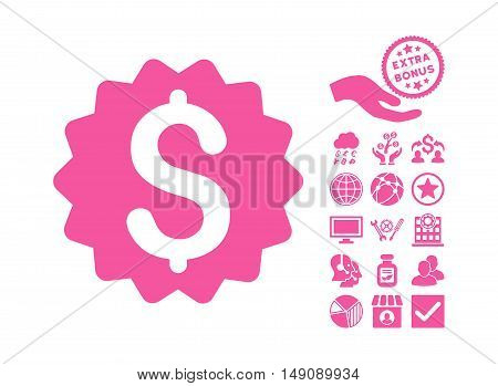 Financial Reward Seal icon with bonus images. Vector illustration style is flat iconic symbols pink color white background.