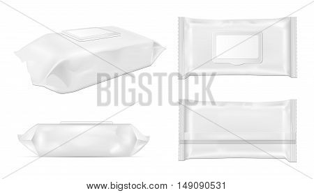 White wipes package with flap. Mock up