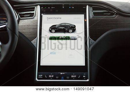 TILGURG, NETHERLANDS - SEPTEMBER 25, 2016: Interior of Tesla Model S 90D car. Tesla Motors is an American company that designs, manufactures, and sells cutting edge electric cars.