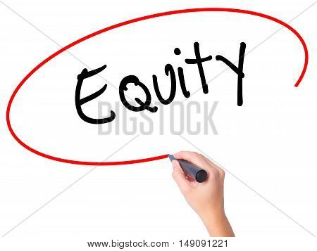 Women Hand Writing Equity With Black Marker On Visual Screen