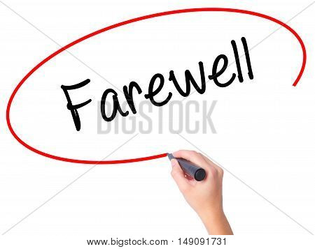 Women Hand Writing Farewell  With Black Marker On Visual Screen