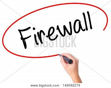 Women Hand Writing Firewall  With Black Marker On Visual Screen
