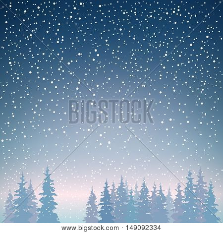 Snowfall in the Forest, Snow Falls on the Spruces, Fir Trees in Winter in Snowfall, Winter Background, Christmas Winter Landscape in Dark Blue Shades ,Vector Illustration