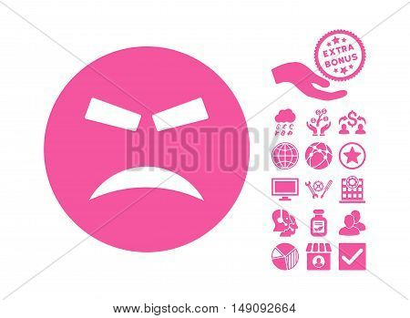 Furious pictograph with bonus clip art. Vector illustration style is flat iconic symbols pink color white background.