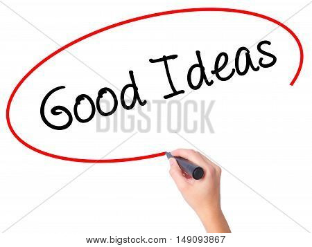 Women Hand Writing Good Ideas With Black Marker On Visual Screen.