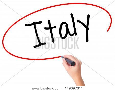 Women Hand Writing Italy With Black Marker On Visual Screen.