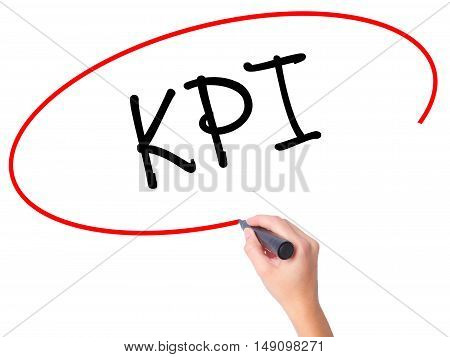 Women Hand Writing Kpi (key Performance Indicator) With Black Marker On Visual Screen