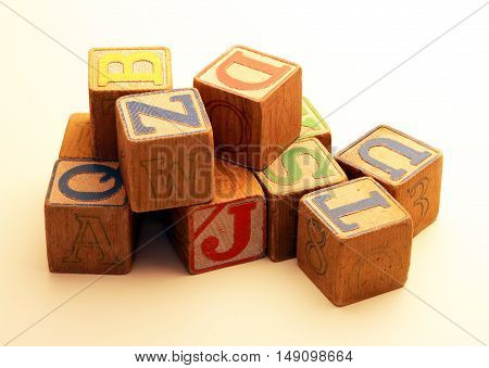 Old Vintage Alphabet Wooden Blocks - used for teaching and education of children