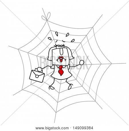 spider web and the businesswoman.