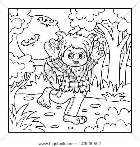 Coloring book for children, Halloween character, Werewolf