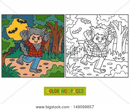 Coloring book for children, Werewolf and background
