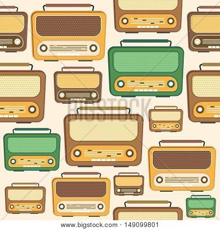 Retro Radio Background Pattern. Flat Design. Vector illustration